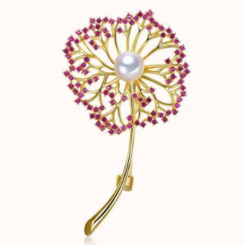 仙蒂瑞拉SANDYRILLA蒲公英8.5-9mm时尚潮流珍珠胸针附证书