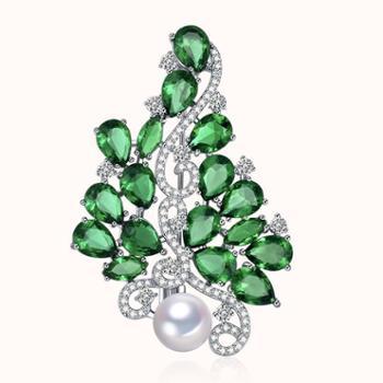 仙蒂瑞拉SANDYRILLA优雅8.5-9mm时尚优雅珍珠胸针人工锆石镶嵌