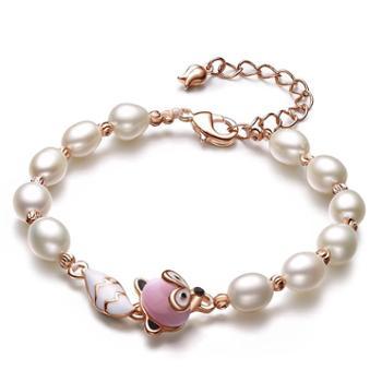 仙蒂瑞拉SANDYRILLA 6.5-7.5mm简约混彩米形圆珍珠手链