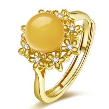 仙蒂瑞拉 华丽 S925银镶琥珀蜜蜡开口戒指(附证书)