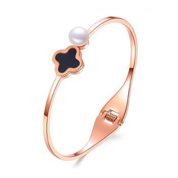 仙蒂瑞拉四叶草7.5-8mm时尚优雅淡水珍珠手镯附证书
