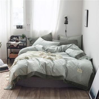 添爱家纺新款全棉色织水洗棉四件套纯棉简约条纹单双人套件床上用品
