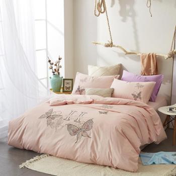 圣艾璐妮家纺全棉绣花四件套纯棉60贡缎简约床上用品套件