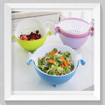 塑料双层可旋转沥水篮滴水箩厨房洗菜篮塑料水果盆果蔬盆洗米筛(单个)