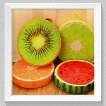 创意3d水果坐垫圆形短毛绒西瓜坐垫办公室沙发午睡靠垫颜色随机