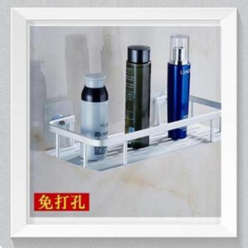 厨房浴室卫生间创意置物架吸盘式壁挂太空铝储物架单层免钉免打孔