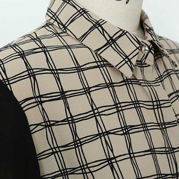 浪漫雅莎新品韩版长袖女雪纺打底衫条纹衬衣长袖衬衫职业休闲衬衣