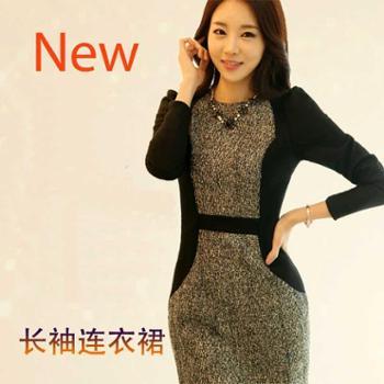 韩版新款女长袖毛呢连衣裙修身显瘦OL时尚气质大码长袖打底裙