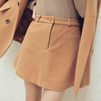 吉想鸟气质驼色A版显瘦显腿长百搭厚实毛呢半身裙欧美冬季新款 A2A3-15AW102