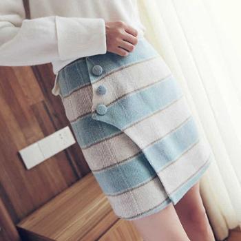 吉想鸟清新装饰格子韩版女装不对称羊毛一步裙短款包臀毛呢半身裙 A2A3-aaw6214
