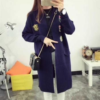 针织衫女开衫韩版秋装学院风毛衣外套宽松刺绣毛衣开衫 JH-8216