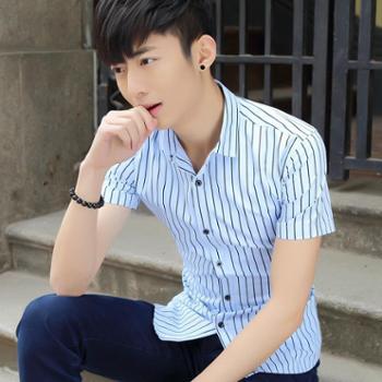 男装短袖衬衫青年潮衬衫修身款韩版印花纯棉半袖衬SLS-10096-35