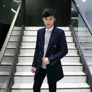 毛呢大衣男中长款男士毛呢外套呢子男风衣男青年韩版修身男款SLS-3905-165