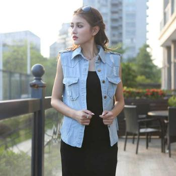 女装韩版新品磨破簿上衣 牛仔马 时尚百搭打底衫外套 Q15129