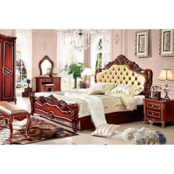 法式床 真皮床 公主床 高箱储物床 婚床 简欧式床 深色尊贵双人床家具