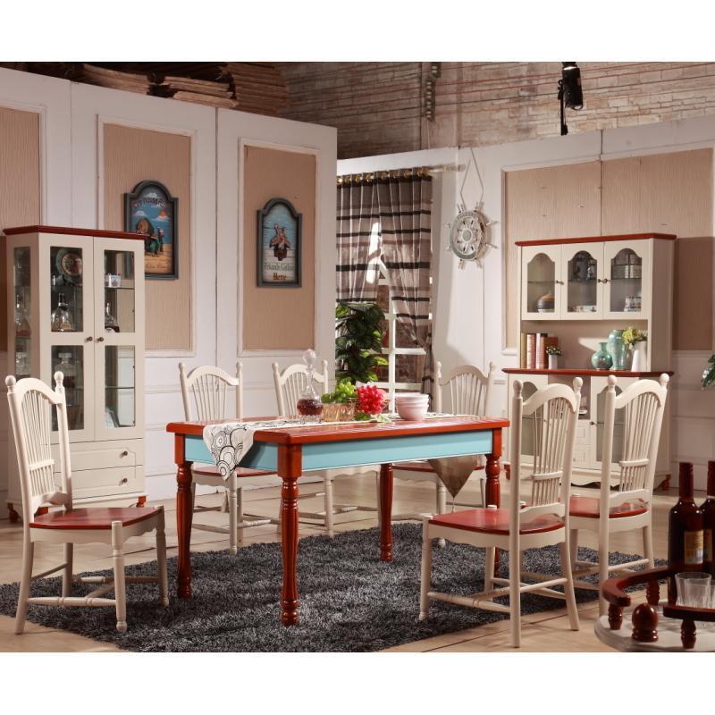 地中海风格餐桌 吃饭桌 美式乡村实木餐桌 精致