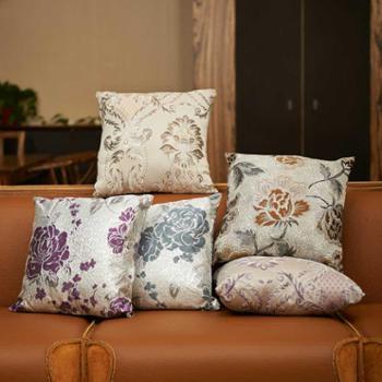 置家高档奢华丝光提花腰靠枕靠垫沙发欧式抱枕含芯
