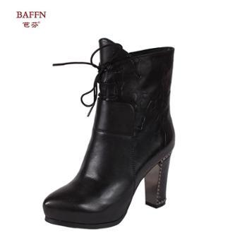 芭芬新款真皮圆尖头高跟镶钻纯色系带欧美简约女靴