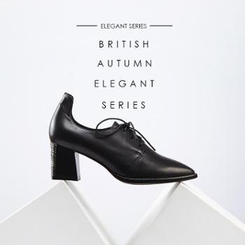 芭芬2015秋新款真皮女鞋粗跟欧美时尚高跟鞋尖头深口纯色单鞋