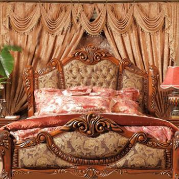 逸邦全实木床 美式乡村床奢华双人床 卧室公主床1.5 1.8米大床