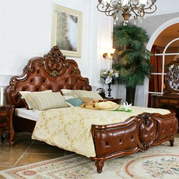 逸邦全实木家具定制 美式床欧式床卧室真皮床 双人床 1.8米纯实木
