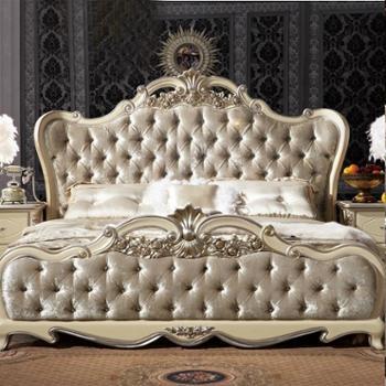 逸邦全实木家具 欧式纯实木床真皮床 奢华公主床 1.8婚床法式床