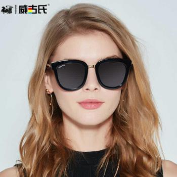 威古氏新款墨镜女圆脸大框显瘦墨镜女小脸款方脸太阳镜9100A