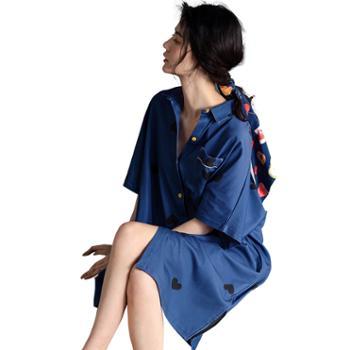 妮狄娅睡衣睡裙女纯棉短袖性感衬衫裙中长款薄款可外穿家居服ZF20223