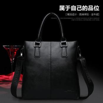 卓梵 阿玛尼男包手提包横款 头层牛皮真皮包商务电脑包男士公文包 竖款手提包 单肩包