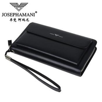 卓梵 阿玛尼男包 双拉链大容量男士手机包皮质钱包商务手拿包