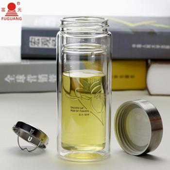 富光双层玻璃杯 有过滤网 280ml/320ml 水晶玻璃隔热透明水杯带盖茶杯杯子703