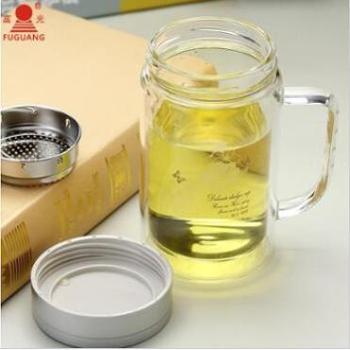 富光水杯玻璃杯茶漏款茶杯双层手柄玻璃杯520ml大容量办公杯茶杯滤网茶叶杯子富光