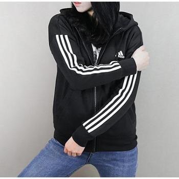 Adidas阿迪达斯外套女2018春季新款运动服休闲连帽针织夹克S97059
