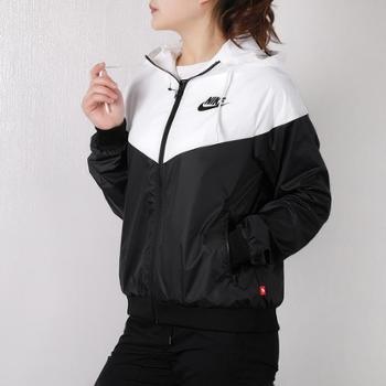 耐克新款女款运动服休闲防风连帽梭织夹克卫衣外套AR3093-010SF