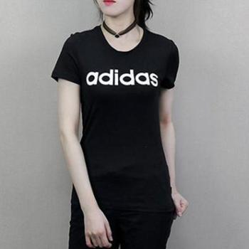 阿迪达斯女装新款圆领休闲短袖体恤纯棉透气运动T恤DM2064-S