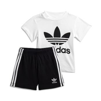 阿迪达斯三叶草SHORTTEESET婴童装短袖运动套装FI8318