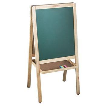 得力deli 7894书写画板 A型双面白板 木质写字板 粉笔绿板