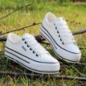 春夏韩版低帮白色帆布鞋女学生厚底松糕鞋百搭单鞋板鞋休闲鞋