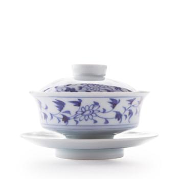 景德镇手绘手工茶具 套装四合一 陶瓷盖碗整套茶具 青花缠枝折腰