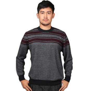 巴音孟克男式时尚圆领加厚羊绒套衫