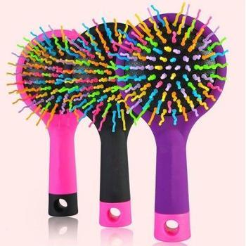 【专柜正品】防静电按摩梳 创意彩虹气囊梳带镜子 卷发顺发梳子 颜色随机发货