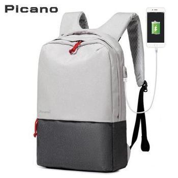 跨境皮卡诺定制电脑包双肩背包休闲学生包男女多功能USB充电背包