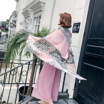 防晒披肩围巾棉麻丝巾女夏季两用韩国版拍照旅游百搭长款薄沙滩巾
