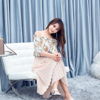 韩版夏装新装爆款一字肩雪纺碎花女清凉上衣