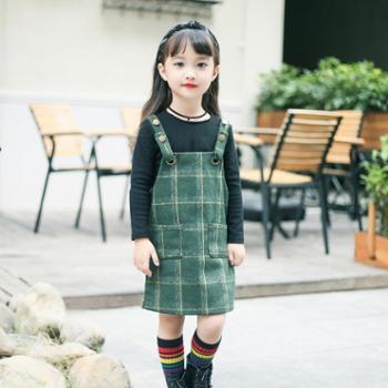 新款女童裙子套装韩版宝宝背带裙两件套