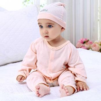 意婴堡 婴儿连体衣宝宝竹纤维提花哈衣爬服