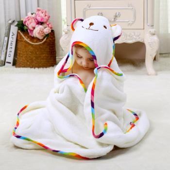 意婴堡婴儿抱被宝宝新生儿纯棉带帽浴巾比竹纤维吸水性强柔软