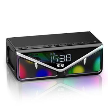 索爱(soaiy) 新款闹钟收音机微信收付款播放器 无线蓝牙音箱便携式超重低音炮 户外手机迷你音响