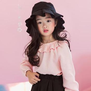AD345韩版长袖女童衬衫儿童娃娃衫秋装纯棉荷叶边圆领套头衬衣