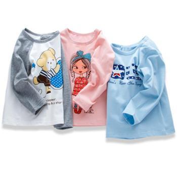2018童装儿童纯棉T恤男童莱卡长袖女童上衣韩版卡通卫衣